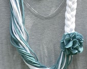 Bright White and Muted Teal Braided Infinity T Shirt Scarf
