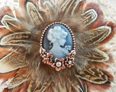 Pheasant Feather Fascinator Hair Clip Embellished with a Cameo