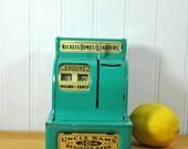 Coin Bank Uncle Sam Green Blue Vintage Metal 1940s