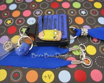 SCHOOL SCHEDULE - Retractable Badge Reel - Designer Badge Holder - Lanyard - Teacher Gift -  Badge Holder - Id Badge Clip - Rhinestone Id