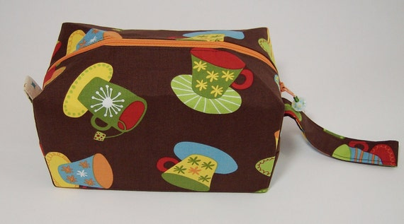 Small Zippered Project Bag - Cups and Mugs, Tea and Coffee