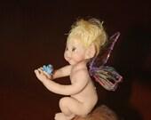 OOAK Polymer Clay Tiny Blonde Fairy on Mushroom