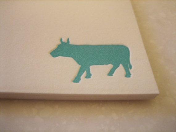 Farm Chic Cow - Letterpress Flat Card Set - 6 cards - notecards
