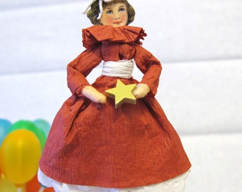 Cupcake Topper Party Favor - Red Dress White Belt with star