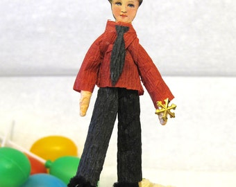 Cupcake Topper Party Favor - Boy with red shirt and gold snowflake