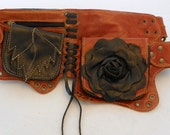 Black & Tan Rose Leather Utility Belt -small only