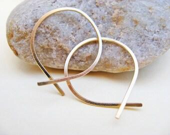 Open End Gold Hoop Earrings, 14K Gold Filled, 20 Gauge Earrings, Hammered Loop Hoops, Minimalist Hoops, One Inch Hoops, Hand Crafted Hoops