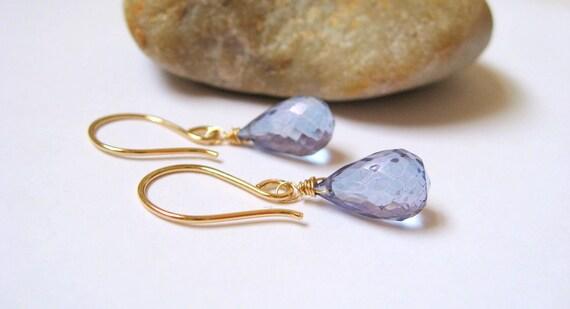 Blue Tanzanite Quartz Briolette Earrings, 14K Gold Filled, Faceted Gemstone