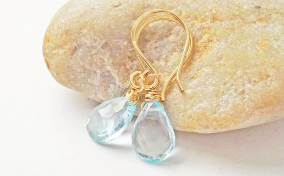 Blue Topaz Gemstone Earrings, 14K Gold Filled, Faceted Briolette, Wire Wrapped