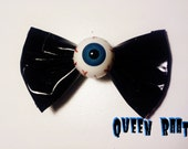 Creepy Blue Eyeball PVC Bow Hair Clip