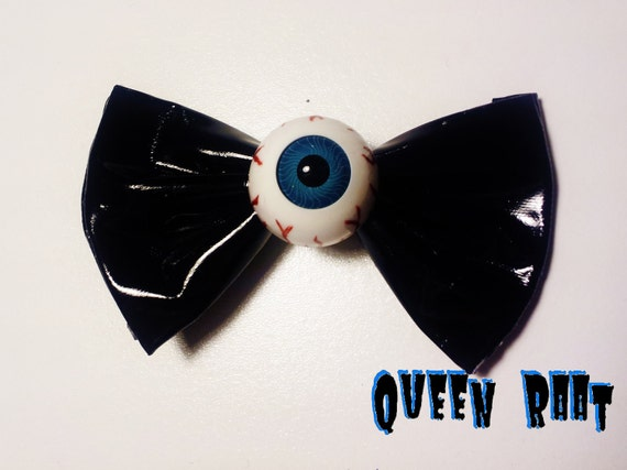 Creepy Blue Eyeball PVC Bow Hair Clip