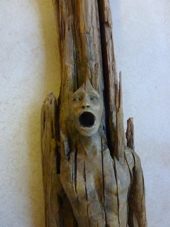 Screaming Man Driftwood Sculpture