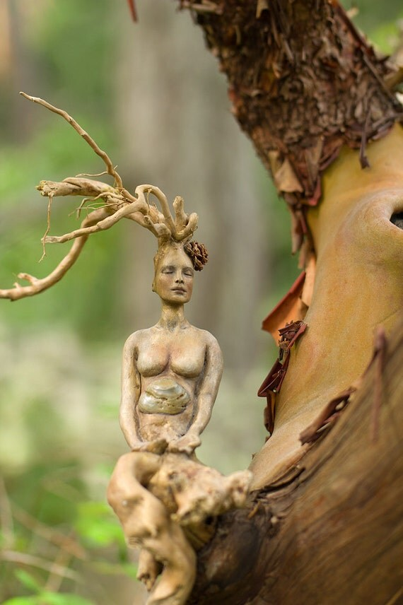 5 x 8 Print - Art Card, Meditating Driftwood Roots Woman