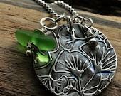 Fine Silver Pendant Necklace.  Precious Metal Clay.  Sea Glass Jewelry. Gingko Flower.