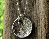 Fine Silver Pendant Necklace. Precious Metal Clay. PMC Fine Silver Necklace.