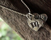 Silver Initial Charm Necklace. Silver Hand Stamped Letter Charms. Two Heart Charm Necklace.