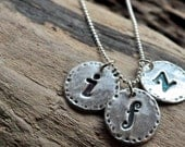 Silver Letter Necklace Personalized Initial Necklace for Mom Round Rustic Initial Charms