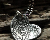 Simple Heart Pendant Necklace.  Curved Silver Heart Shaped Pendant.  Paisley Jewelry.  Symbol of Love.  Fine Silver Jewelry.