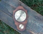 German Made Wood Framed Jason Quality Antique Weather Station, Barometer & Hygrometer Gauges