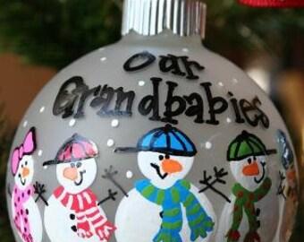 Custom Grandparent Ornament - Hand Painted - Snowman Ornament