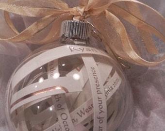 Glass Wedding Invitation Ornament