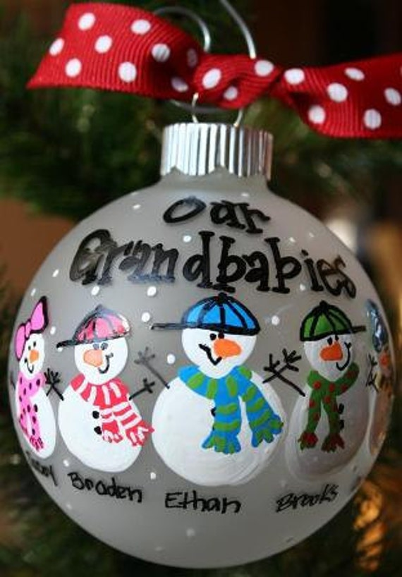 Our Grandbabies - Hand Painted Christmas Ornament (holds up to 6 snowmen)