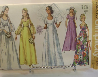 Simplicity 9260 Pattern Uncut 1971 Wedding Dress or Bridesmaid Dress and Cap Size 10