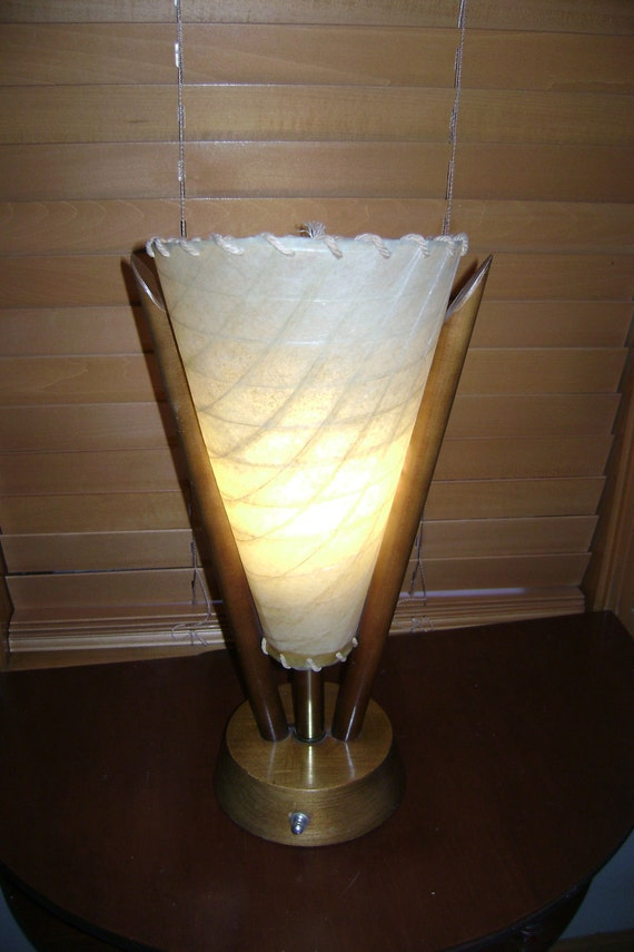 Mid-Century Atomic Teak Wood Table Lamp with Cone Shape Fiberglass Shade