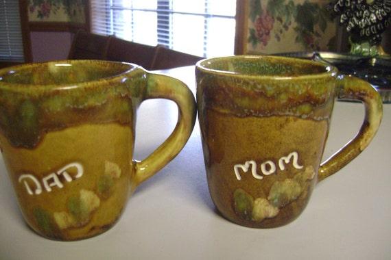 Dryden Hot Springs Arkansas Handmade Drip Glaze Pottery Mom and Dad Coffee Mugs