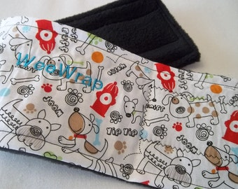 Dog Diaper Belly Band, Woof Fabric, Male Dog, Stops Marking, Personalized, FAST Shipping