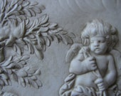 Shabby chic,vintage ceramic,aged cream,Greek lady,baby,olive tree,urns & cherub oval plaque-hand-made.