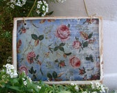 vintage floral wallpaper image,French shabby chic roses,large wooden tag/dresser/door hanger-salvaged wood