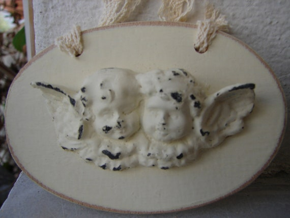 set 2 French Shabby Chic,wooden cherubs oval tags,room decoration/door hangers with vintage lace.