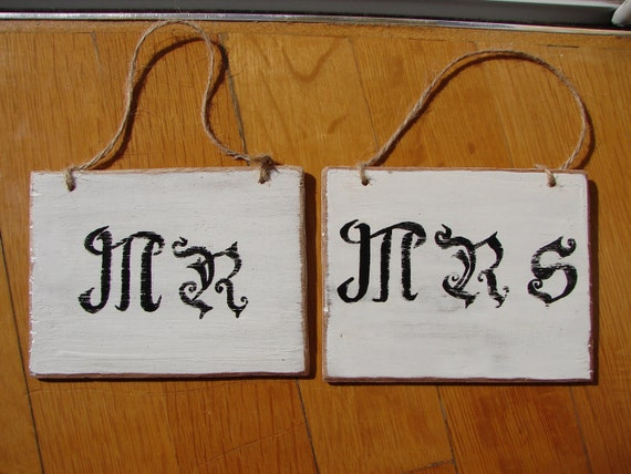 Pair French shabby chic,Mr & Mrs handpainted wooden tags/signs-twine loops.