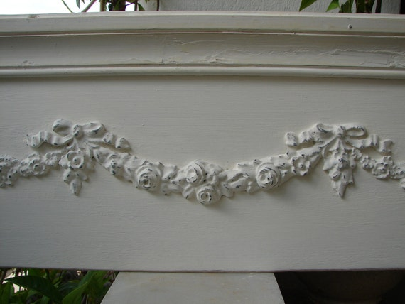 French painted,shabby chic,large roses,swags & bows pediment/ header-Paris apartment/cottage chic