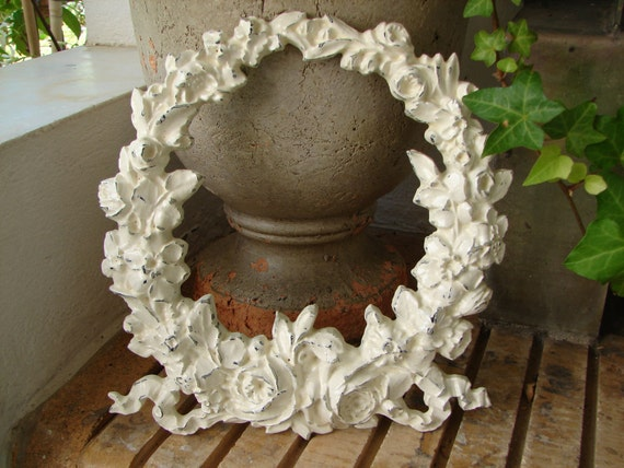 French painted,shabby chic,Huge roses wreath,furniture applique/embellishment-shabby white distressed