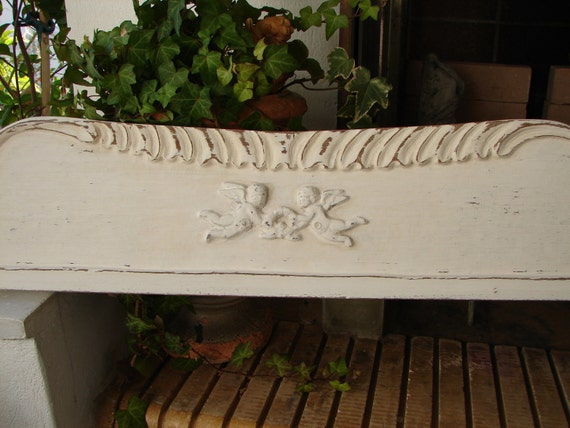 Huge 5ft.5'' /1.65 metre,antique,carved French bed pediment,cherubs,shabby chic.