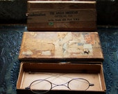 Antique Spectacles,1930s Child's Spectacles, Wire Frames, Distressed Collaged Box, Kurt Schwitters Type Collage, Steampunk, Deco