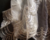 Antique Edwardian 'Tambour' Ivory Silk Lace, Iridescent, Lacework Border, Scrolls, Ribbon, Flowers, Scalloped Edge, English Lace