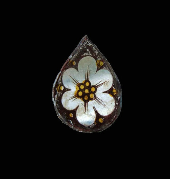 RESERVED Antique Glass Teardop, Gothic Revival Church Window Fragment, White Tudor Rose of York, Historic English Artifact