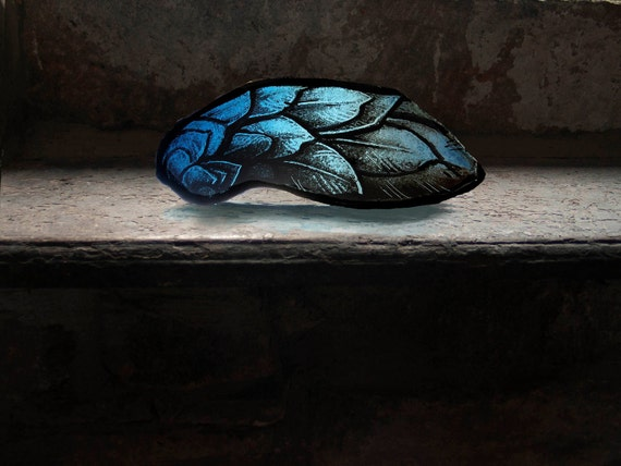 Blue Angel Wing - Antique Stained-Glass Church Window Fragment, 1800s Gothic Revival, Beautiful Artifact