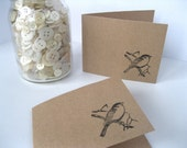 "Kraft Mini Cards - Bird on a Branch - 3.5 x 4.25 "" Cards Stamped by Hand Set of 8 - Shop Thank you cards"