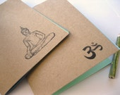 Hand Made Journals - Kraft Covered Journal Jotters - Set of Two Little Sketchbooks -- Paper Journals -- Handstamped Buddha and Ohm