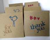 """Miniature Cards - Mini Cards - Set of 6 - Thank You and For You  - 2x2 """" Hand Stamped Cards"""