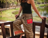 Thai Fisherman Pants, Cotton, Batik, Brown&Red w Gold Design UNISEX