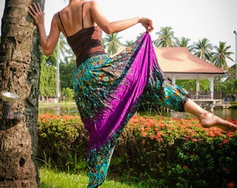 Thai Harem Pants in Cotton, Purple and Turquoise Floral Print Design