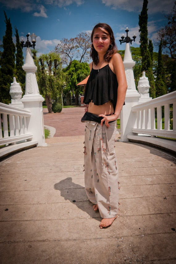 Thai Fisherman Pants, Cotton, Off-White with Colored Fringe Details UNISEX(S-XL) one size fits all