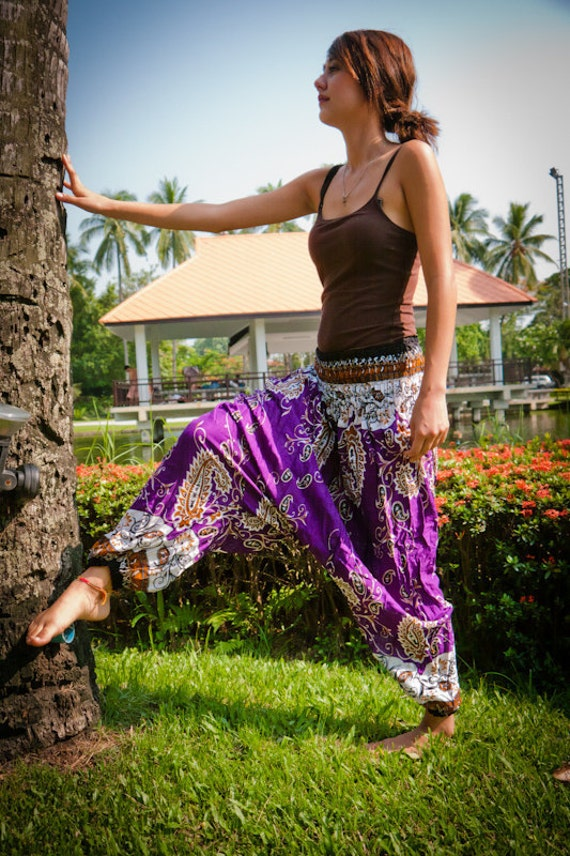 Thai Harem Pants in Cotton, Purple, White and Amber Paisley Design(S-XL) one size fits all