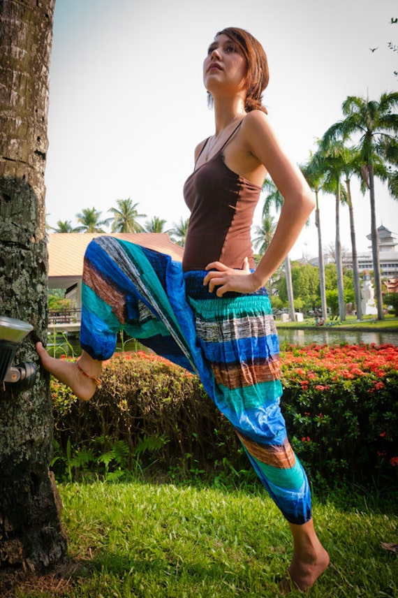 Thai Harem Pants in Cotton, Multicolor Wide Blue Tint HORIZONTAL Stripes(S-XL) one size fits all