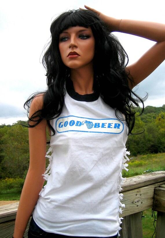 White Good Beer Shredded Halter Top Shirt